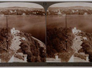Oscarshal – Kongelige hage med Christianiafjorden og byen i bakgrunnen (1905)