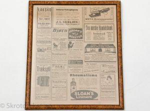Innrammet annonseside fra gammel avis (Aftenposten)