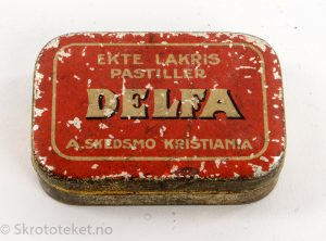 DELFA – Ekte Lakris Pastiller – A. Skedsmo Kristiania