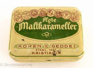 Ægte maltkarameller fra Koren & Gedde, Kristiania