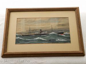 SS Altaire Kristiania – Akvarell av Fritz Malmsjö