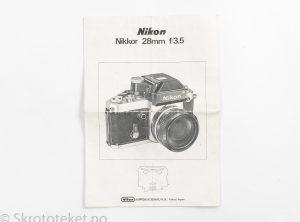 Nikon Nikkor 28mm f3.5 – Bruksanvisning