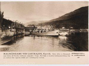 Malmskip ved lastekaia, Narvik (1920)
