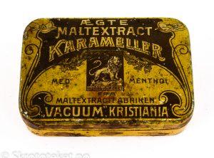 """ÆGTE MALTEXTRACT KARAMELLER med Menthol – Maltextraktfabriken """"VACUUM"""", Kristiania"""
