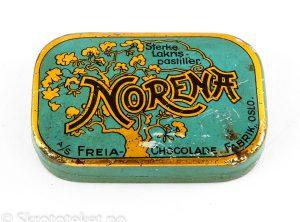 Norena – Sterke lakris pastiller (med hengslet lokk) – A/S Freia Chocolade fabrik, Oslo