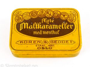 Ægte maltkarameller med Menthol – Koren & Gedde, Kristiania (1920-tallet)