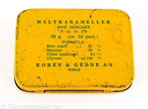 Maltkarameller med Salmiakk – Koren & Gedde, Kristiania (1920-tallet)