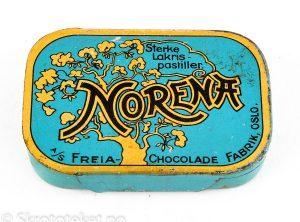 NORENA – Sterke lakris pastiller (med skyvelokk) – A/S Freia Chocolade fabrik, Oslo