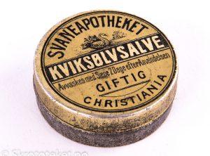 KVIKSØLVSALVE fra Svaneapotheket i Christiania (1890-tallet)